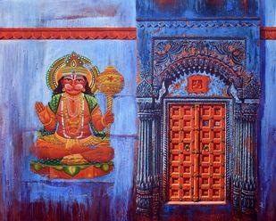 Varanasi-21 by Anil Kumar Yadav, Illustration Painting, Acrylic on Canvas, Gray color