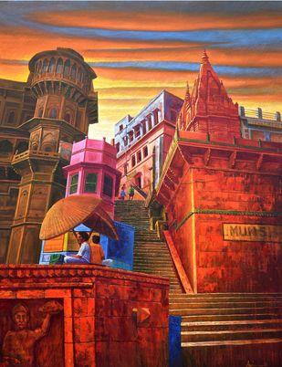 Varanasi-22 by Anil Kumar Yadav, Illustration Painting, Acrylic on Canvas, Orange color