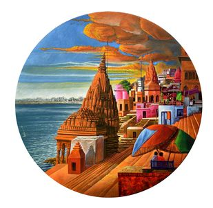 Varanasi-23 by Anil Kumar Yadav, Illustration Painting, Acrylic on Canvas, White color