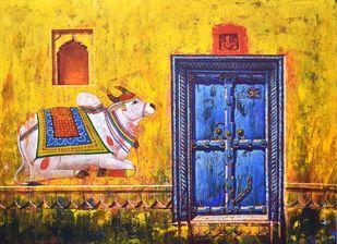 Varanasi-24 by Anil Kumar Yadav, Illustration Painting, Acrylic on Canvas, Yellow color
