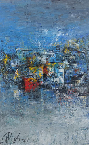 My Home Town by M Singh, Abstract Painting, Acrylic on Canvas, Gray color