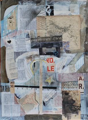 Map by Harpreet Singh, Conceptual Painting, Mixed Media on Paper, Silver color