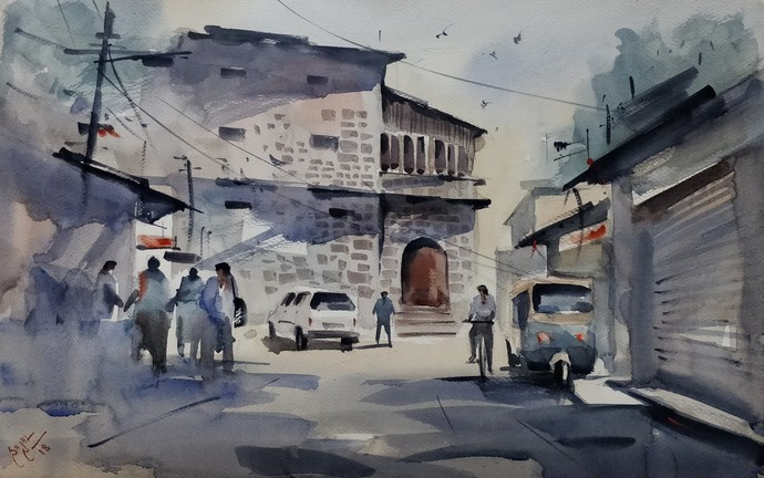 Life Goes on... by Sajal K. Mitra, Illustration Painting, Watercolor on Paper, Gray color