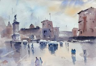 Rome after rain by Sajal K. Mitra, Illustration Painting, Watercolor on Paper, Silver color