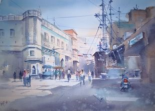 City life - III by Sajal K. Mitra, Illustration Painting, Watercolor on Paper, Gray color