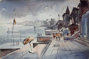 Benaras-II by Sajal K. Mitra, Illustration Painting, Watercolor on Paper, Gray color