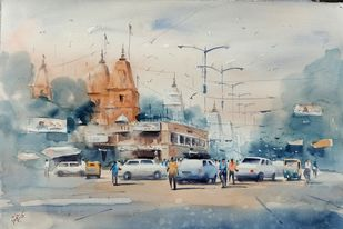 Jain Mandir, Chandni Chowk by Sajal K. Mitra, Illustration Painting, Watercolor on Paper, Silver color