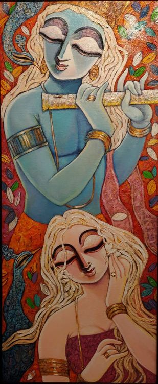 SILENT LOVE by Subrata Ghosh, Expressionism Painting, Acrylic on Canvas, Orange color