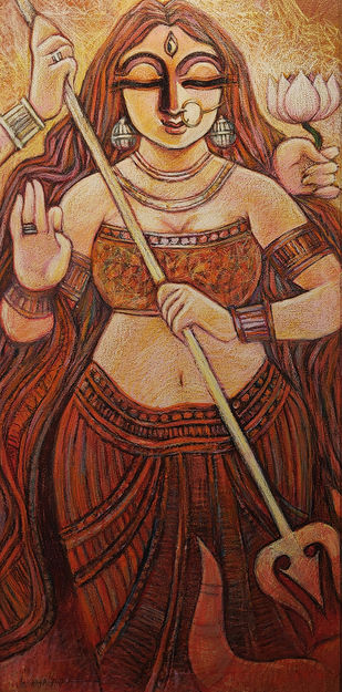 SHAKTI by Subrata Ghosh, Expressionism Painting, Mixed Media on Canvas, Orange color
