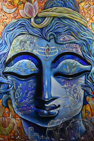 SHIVA by Subrata Ghosh, Expressionism Painting, Mixed Media on Canvas, Gray color