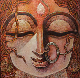 DEVI by Subrata Ghosh, Expressionism Painting, Mixed Media on Canvas, Orange color