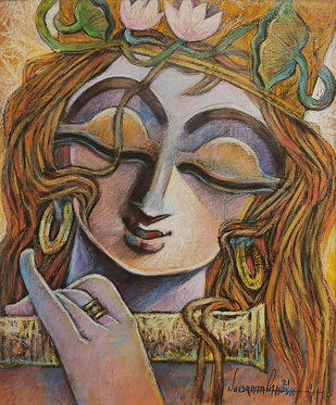 TUNE OF LOVE - III by Subrata Ghosh, Expressionism Painting, Mixed Media on Canvas, Gray color