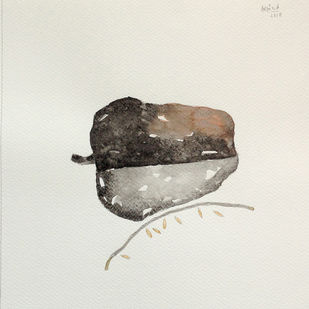 untitled 1683 by Arvind V Patel, Illustration Drawing, Watercolor on Paper, Silver color