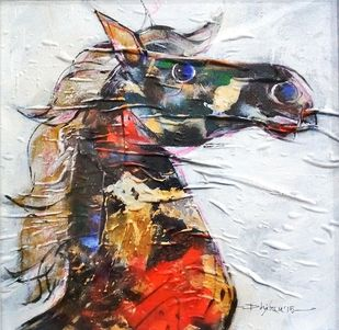 Horse in multicolours by Dhiren Sasmal, Expressionism Painting, Acrylic on Canvas, Silver color