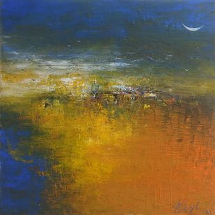 Distance of mind thinking by M Singh, Abstract Painting, Acrylic on Canvas, Olive color
