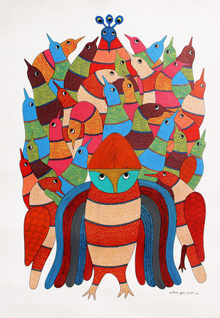 Gond Painting by Rajendra Kumar Shyam , Tribal Painting, Acrylic on Paper, Orange color