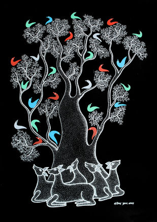 Gond Painting by Rajendra Kumar Shyam , Tribal Painting, Acrylic on Paper, Black color