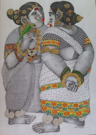 Rural Women and a parrot by Narahari Bhawandla, Traditional Painting, Acrylic on Paper, Silver color