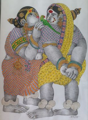 Rural women Traditional by Narahari Bhawandla, Traditional Painting, Acrylic on Paper, Silver color