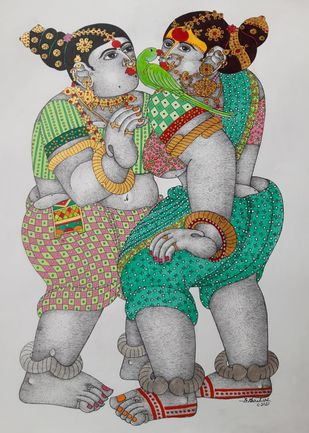 Women and a parrot by Narahari Bhawandla, Traditional Painting, Acrylic on Paper, Silver color
