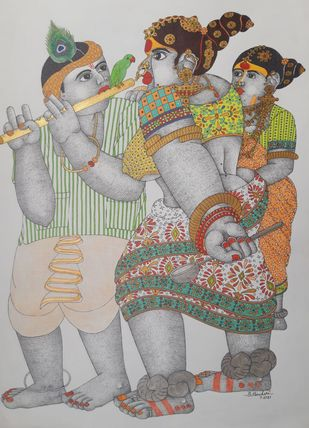 Rural Women and Men by Narahari Bhawandla, Traditional Painting, Acrylic on Paper, Silver color