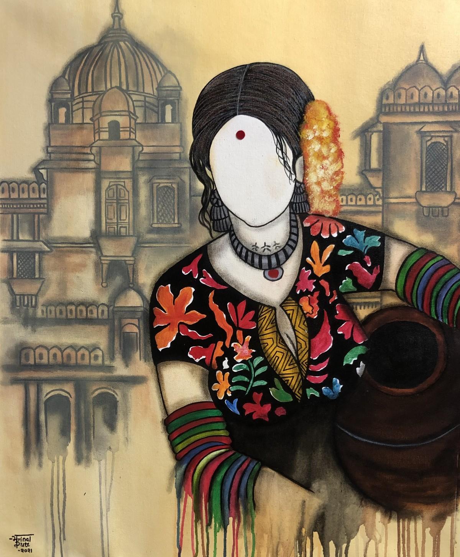 Kalbeili by Mrinal Dutt, Illustration Painting, Acrylic on Canvas, Orange color