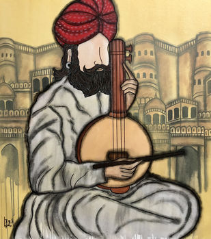 Swar Lahri 2 by Mrinal Dutt, Illustration Painting, Acrylic on Canvas, Orange color