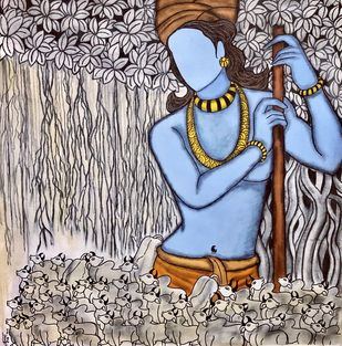 Madhav by Mrinal Dutt, Illustration Painting, Charcoal and Acrylic on Canvas, Silver color