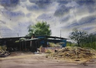 Jaggery Making Plant by Niketan Bhalerao, Illustration, Realism Painting, Watercolor on Paper, Silver color