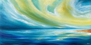 Tranquility by Tvesha Singh, Illustration Painting, Acrylic on Canvas, Teal color