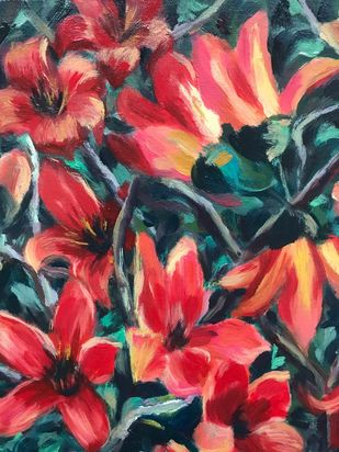Blazing Reds by Sujata Khanolkar, Illustration Painting, Oil on Canvas, Maroon color