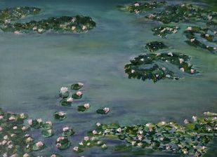 Water Lily by Gitika Singh, Illustration Painting, Acrylic on Canvas, Gray color