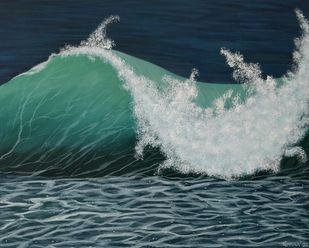 Ocean Wave by Gitika Singh, Illustration Painting, Acrylic on Canvas, Gray color