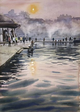 Ramkund, Nashik by Niketan Bhalerao, Illustration Painting, Watercolor on Paper, Silver color