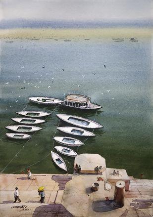 Varanasi Ghat by Niketan Bhalerao, Illustration Painting, Watercolor on Paper, Silver color