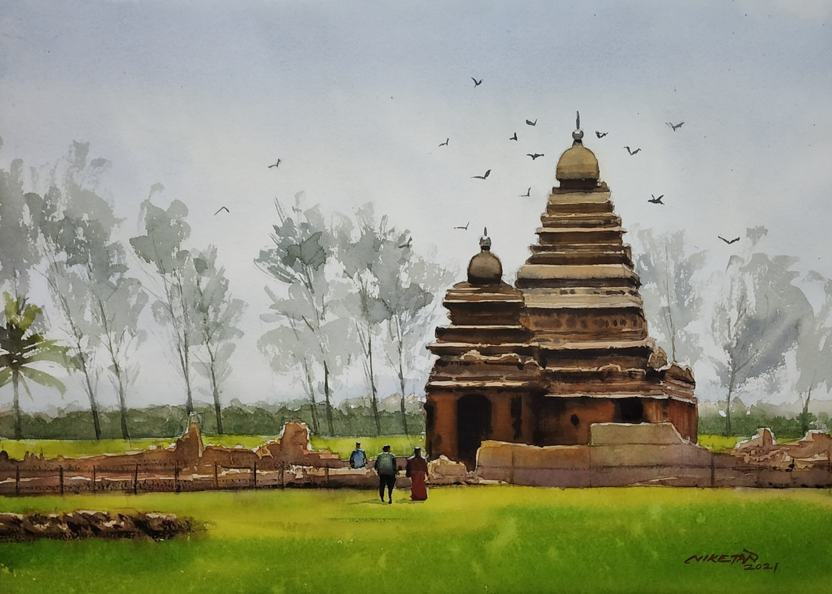 The South Indian Temple by Niketan Bhalerao, Illustration Painting, Watercolor on Paper, Silver color