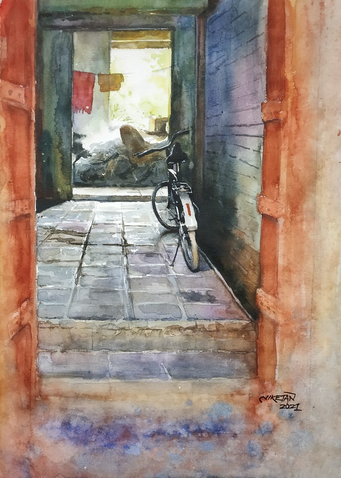 The Bicycle by Niketan Bhalerao, Illustration Painting, Watercolor on Paper, Purple color