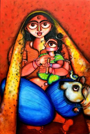 Gokul by Sharmi Dey, Expressionism Painting, Acrylic on Canvas, Red color