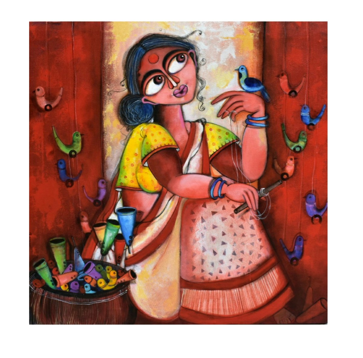 Happiness seller by Sharmi Dey, Expressionism Painting, Acrylic on Canvas, White color