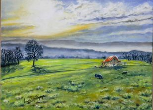 First light, Swiss landscape by Lasya Upadhyaya, Illustration Painting, Oil on Canvas, Gray color