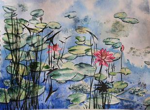 Lilypond 2 by Lasya Upadhyaya, Illustration Painting, Watercolor on Paper, Silver color