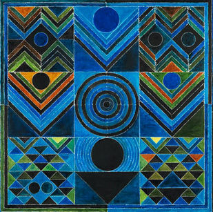GERMINATION by S H Raza, Geometrical Digital Art, Digital Print on Canvas, Gray color