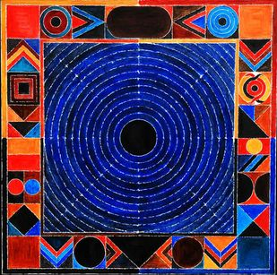BINDU by S H Raza, Geometrical Printmaking, Digital Print on Canvas, Gray color