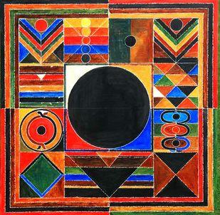 GERMINATION by S H Raza, Geometrical Printmaking, Digital Print on Canvas, Orange color