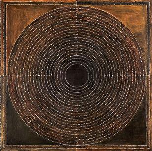 BINDU by S H Raza, Geometrical Printmaking, Digital Print on Canvas, Black color