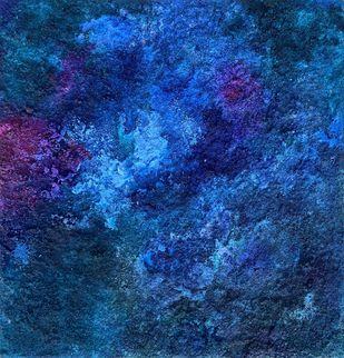 Untitled 2, Cold21 by Vanshita arora , Abstract Painting, Mixed Media on Canvas, Navy color