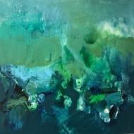 Untitled by Nishi Nitya sharma, Abstract Painting, Acrylic on Canvas, Green color