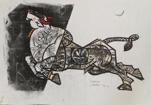 Celebration by Dinkar Jadhav, Illustration Drawing, Charcoal & Dry Pastel on Paper, Silver color