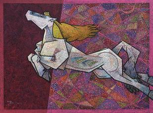 Feminine- by Dinkar Jadhav, Illustration Painting, Acrylic on Canvas, Gray color