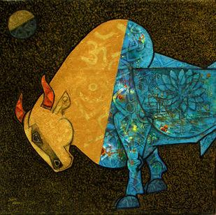 Celebration-14 by Dinkar Jadhav, Illustration Painting, Acrylic on Canvas, Black color
